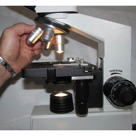 استیج و لنزهای شیئی میکروسکوپ بیولوژی 1600 برابر مدل xsz-801bn با لامپ روشن