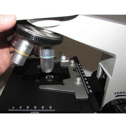 نمای استیج و لامگردان میکروسکوپ بیولوژی 1600 برابر مدل XSZ-801BN
