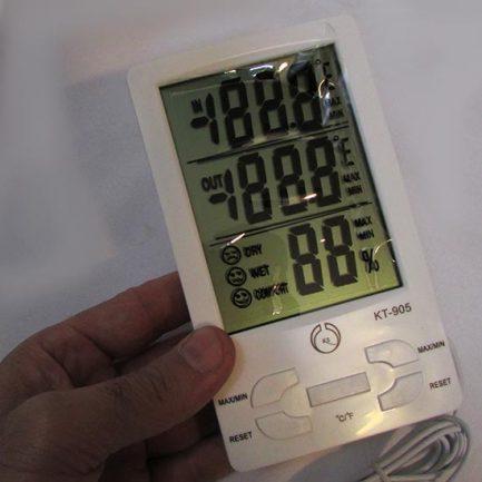 دماسنج و رطوبت سنج دیجیتال سه خانه دارای سنسور خارجی مدل KT905