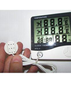نمای سنسور خارجی دماسنج و رطوبت سنج دیجیتال سنسور دار سه خانه مدل HTC-2