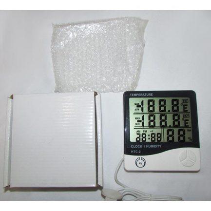 بسته بندی دماسنج و رطوبت سنج دیجیتال سنسور دار سه خانه مدل HTC-2