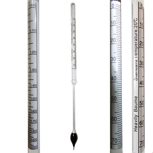 مشاهده نزدیک از دو نوع درجه بندی چگالی سنج مایعات دو کاره