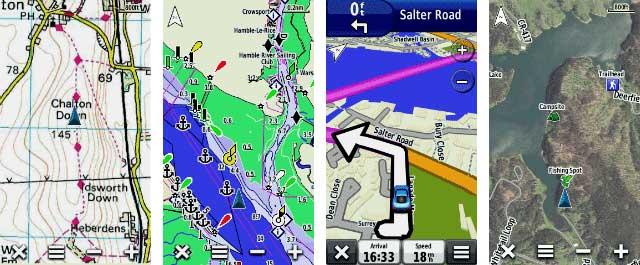 مشاهده نمایش انواع نقشه بروی جی پی اس 62 اس گارمین