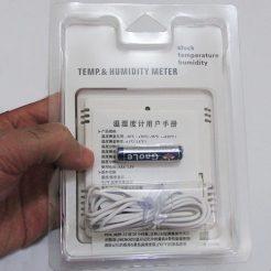 نمای بخش پشتی بسته بندی دماسنج رطوبت سنج دیجیتالی مدل HTC2