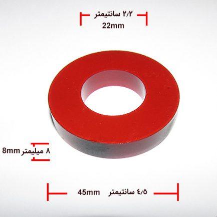 مشاهده ابعاد آهنربای حلقه ای شکل با قطر 4.5 سانتیمتر و رنگ قرمز روشن