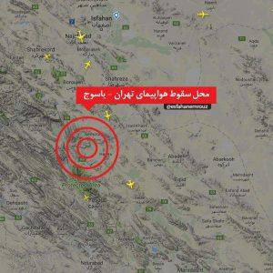 نقشه محل سقوط هواپیمای تهران یاسوج