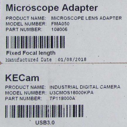 برچسب روی کارتن دوربین میکروسکوپ CCD 18 MP دارای پورت USB3