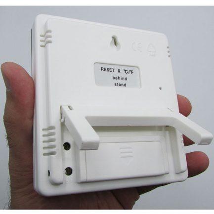 نمای پشت و پایه دماسنج دیجیتالی دارای رطوبت سنج و تقویم مدل HTC1
