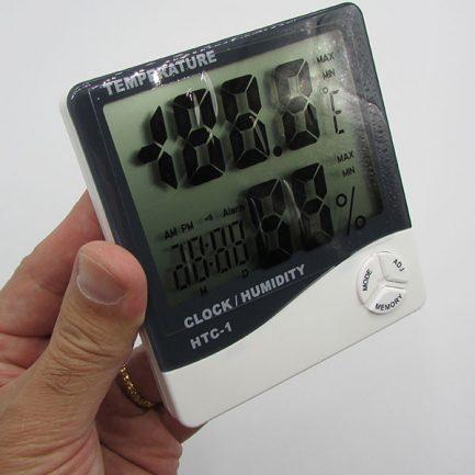 ابعاد دماسنج دیجیتالی دارای رطوبت سنج و تقویم مدل HTC1